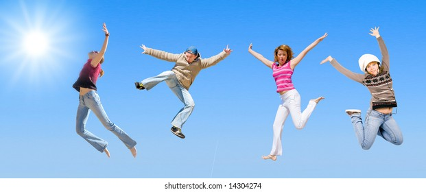 """team jumping -  of  """"Groups of people"""" series in my portfolio"""
