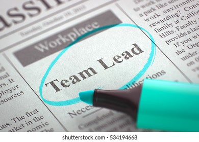 Team Lead - Jobs in Newspaper, Circled with a Azure Marker. Blurred Image with Selective focus. Job Search Concept. 3D Rendering.