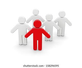 Team leader concept. 3d rendered illustration
