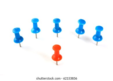 team leader and the group as a stationery buttons  isolated on a white background