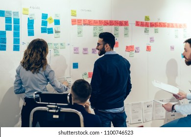 Team of male and female colleagues in formal wear collaborating with each other standing near wall with glued colorful stickers with text notes for presentation during brainstorming in modern office