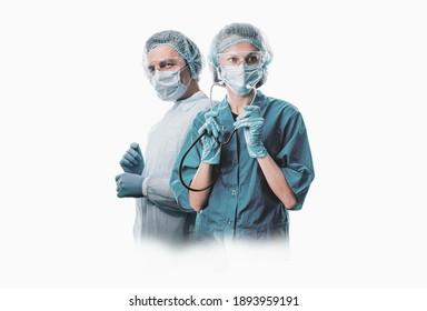 Team medizinischer Helden auf weißem Hintergrund