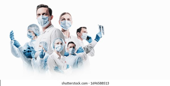 team of medical professionals on a white background