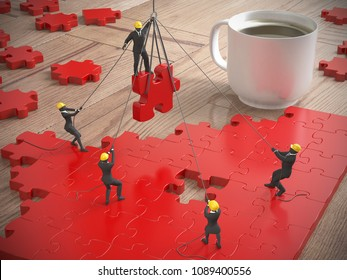 A team of miniature people assebling great red jigsaw puzzle on a wood table next to a coffee cup as 3d rendering.