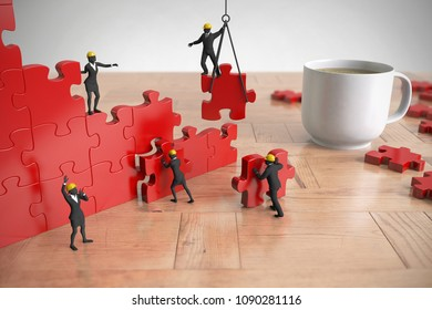 A team of miniature people constructing a red jigsaw puzzle on a wood table next to a coffee cup as 3d rendering.