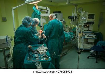 "Team of neurosurgeons performed brain surgery to remove a tumor in the University hospital ""St. Ivan Rilski"" Sofia, Bulgaria, September 17, 2014."