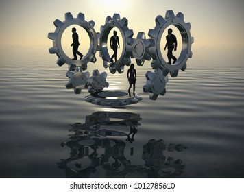 Team on gears at the lake at sunrise as 3d render. Executives walking inside gears at the lake at sunrise demonstrate the power of cooperation and synergy.