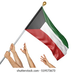 Team of peoples hands raising the Kuwait national flag, 3D rendering isolated on white background