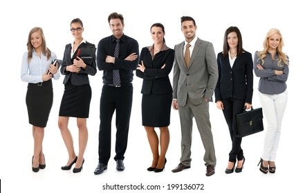 Team photo of successful young businesspeople over white background, all smiling happy.