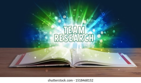 TEAM RESEARCH inscription coming out from an open book, educational concept
