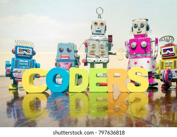 a team of robit toy coders on an old wooden floor  with reflection