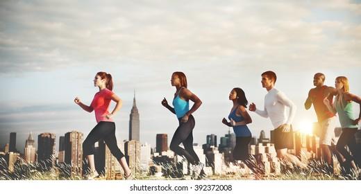 Team Running Marathon Healthy Runner Concept