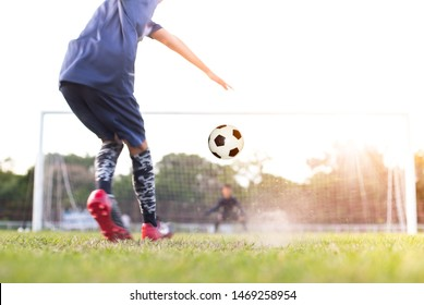 team soccer footballer get the ball to free kick or penalty kick during match in the stadium