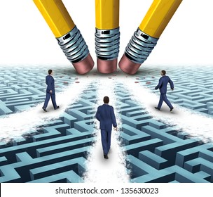 Team solutions with a group of business people walking over a clear path on a confusing maze or labyrinth that has been cleared by three pencil erasers as a teamwork business concept.