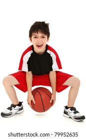 Team sport basketball player child with ball making crazy expressions.
