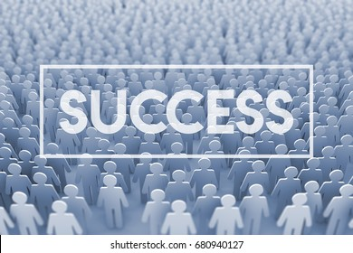 Team success. Large group of stick figure people. 3D Rendering