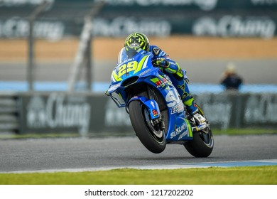 Team Suzuki Ecstar Italian rider Andrea Iannone no.29 in qualifying during The PTT Thailand Grand Prix - MotoGP at Chang International Circuit on October 6, 2018 in Burirum ,Thailand