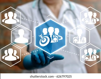 Team Target Health Care Success Strategy Concept. Medicine teamwork audience. Purpose achievement in hospital work. Doctor touched goals group physicians icon on virtual medical screen.