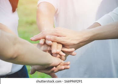 Team teamwork business join hand together concept, Power of volunteer charity work, Stack of people hand