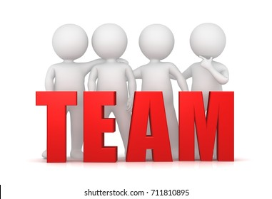Team teamwork rendering illustration colleagues side by side red 3d people stick men team text team spirit and building sign isolated on white