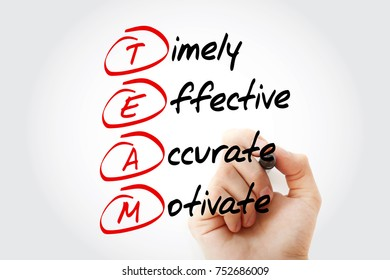 TEAM - Timely, Effective, Accurate, Motivate, acronym business concept