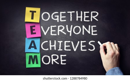 Team - together everyone achieves more written on blackboard