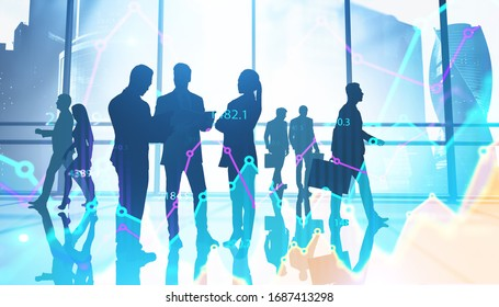 Team of traders working together in blurry panoramic Moscow city office with double exposure of financial chart and planet hologram. Concept of teamwork and stock market. Toned image