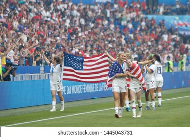 Team of United States celebrate their victory during the FIFA Women's World Cup France 2019 Final football match USA vs Netherlands on 7 July 2019 Groupama Stadium Lyon France