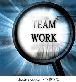 team work on a blue background with a magnifier