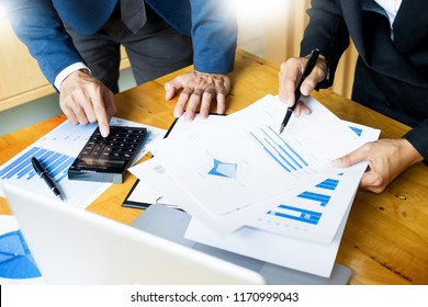 Team work process. young business managers crew working with startup project. laptop in office analyze profit graph plan.