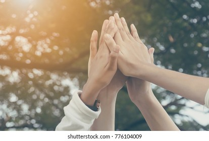 Team work and together concept, Hand of people high five for tag team