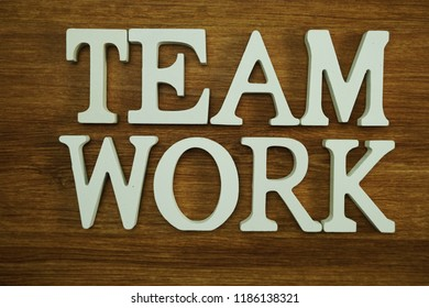 team work word made from wooden cubes with letters alphabet