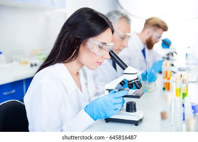 Team work. Young brunette lab worker in protective glasses is analysing the sample in the microscope. She is in a labcoat and gloves, in the middle of experiment