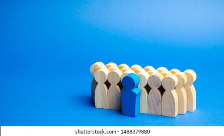 A team of workers on a blue background. The concept of personnel selection and management within the team. Dismissal and hiring people to work. Human Resource Management. Headhunting. Talented worker