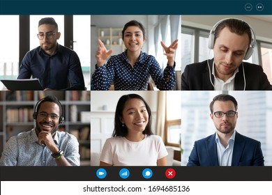 Team working by group video call share ideas brainstorming negotiating use video conference, pc screen view six multi ethnic young people, application advertisement easy and comfortable usage concept - Shutterstock ID 1694685136