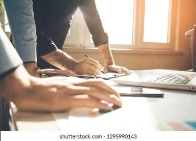 team working in office desk