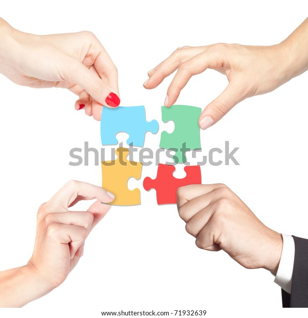 Team working together for a solution (business, strategy, teamwork, partnership, diversity, decision concept)