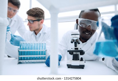 team of young scientists conduct research.
