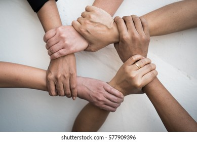 Teamwork, 2019 vision, young people United Hands together expressing positive, tag team, team, friendship, spirit, one heart,  mission, connection, partnership, deal, volunteer concepts.