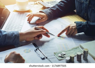teamwork of accountant working on desk in office. business finance concept