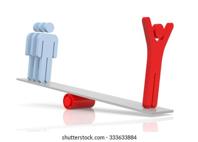 Teamwork Balance. 3D Rendering. Isolated white background.