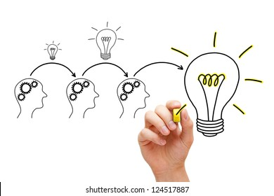 Teamwork builds big idea. If everybody gives a little, it adds up.