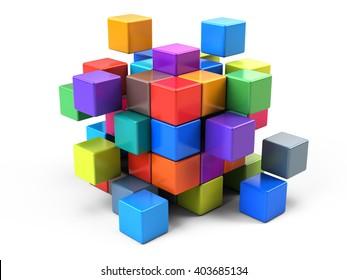 Teamwork business concept - cube assembling from blocks - 3d render