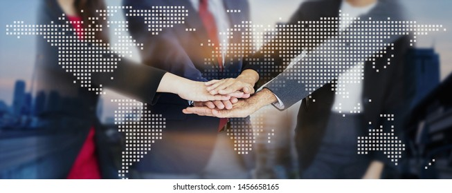 Teamwork of business handshake for successful of investment deal and city night background, teamwork and partnership concept.  concept.