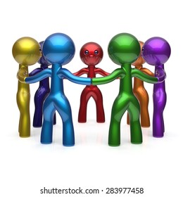 Teamwork circle people social network diverse characters friendship individuality team seven different cartoon friends unity meeting icon concept colorful. 3d render isolated