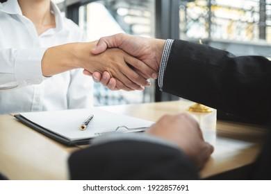 Teamwork colleagues business people handshake after meeting.