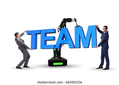 Teamwork concept with businessman and robotic arm