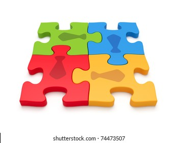 Teamwork concept by jigsaw puzzle pieces