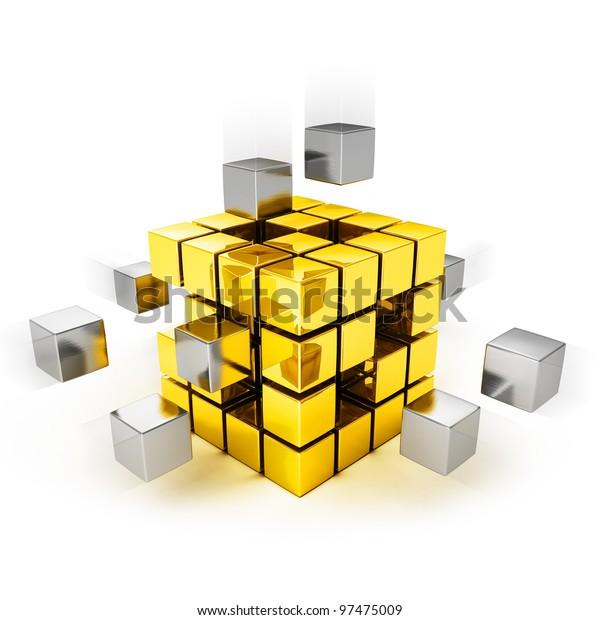 Teamwork concept - metal cubes assembling into gold one