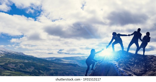 Teamwork concept. People who help their peers. Human relationship. - Shutterstock ID 1931513117